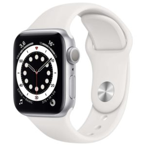 Часы Apple Watch S6 44mm Silver Aluminum Case with White Sport Band