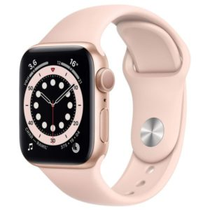 Часы Apple Watch S6 44mm Gold Aluminum Case with Pink Sand Sport Band